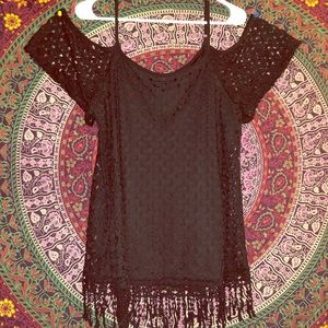 Tops - Black double layer lace top